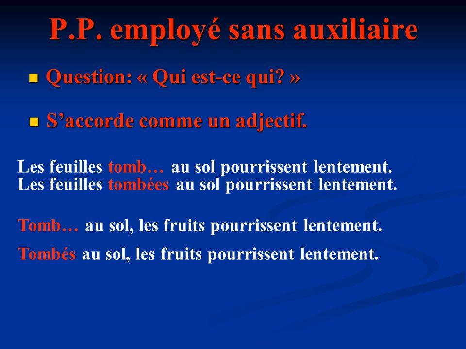 P.P. employé sans auxiliaire
