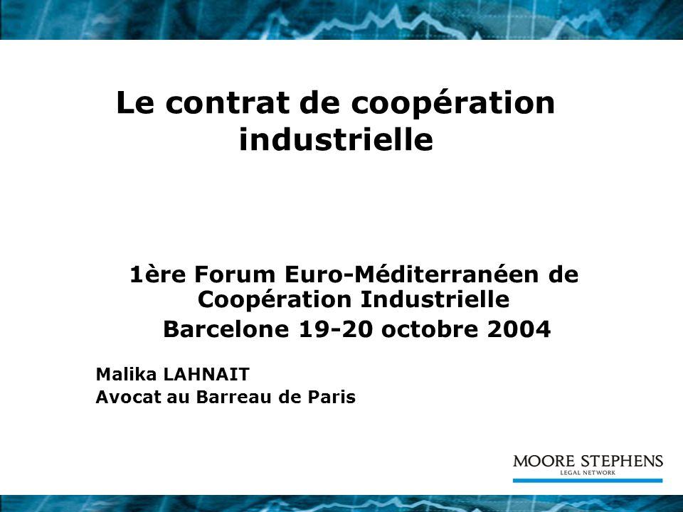 Le contrat de coopération industrielle