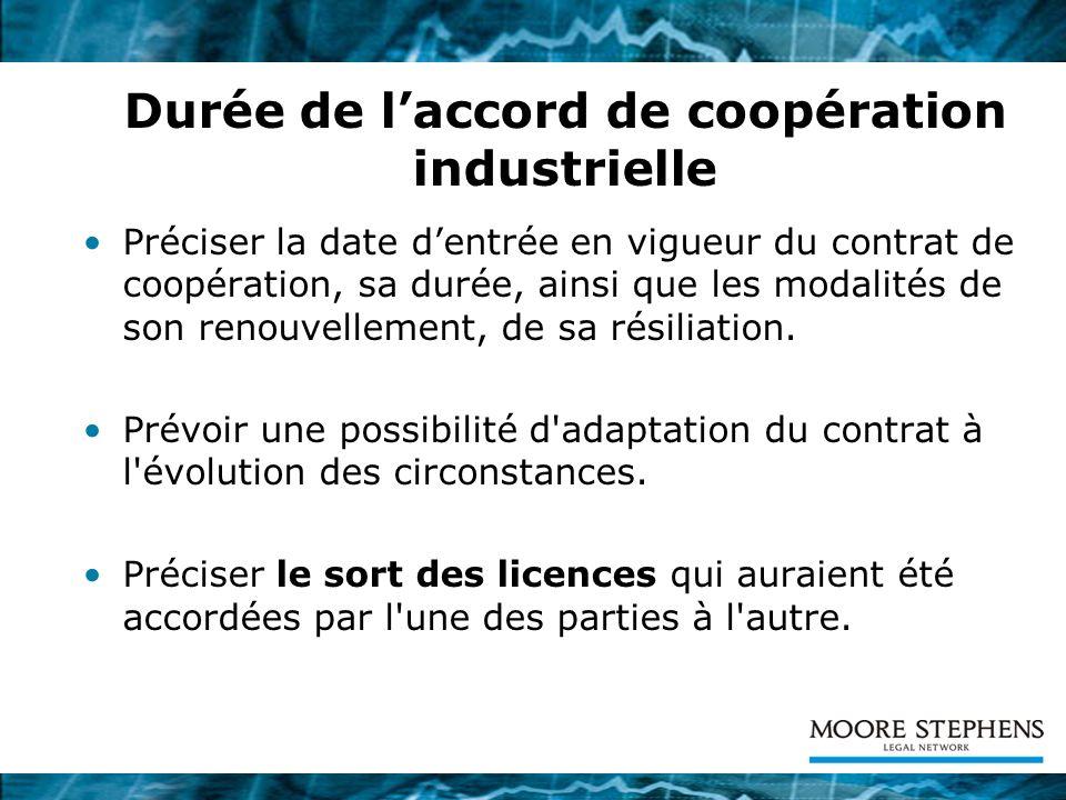 Durée de l'accord de coopération industrielle