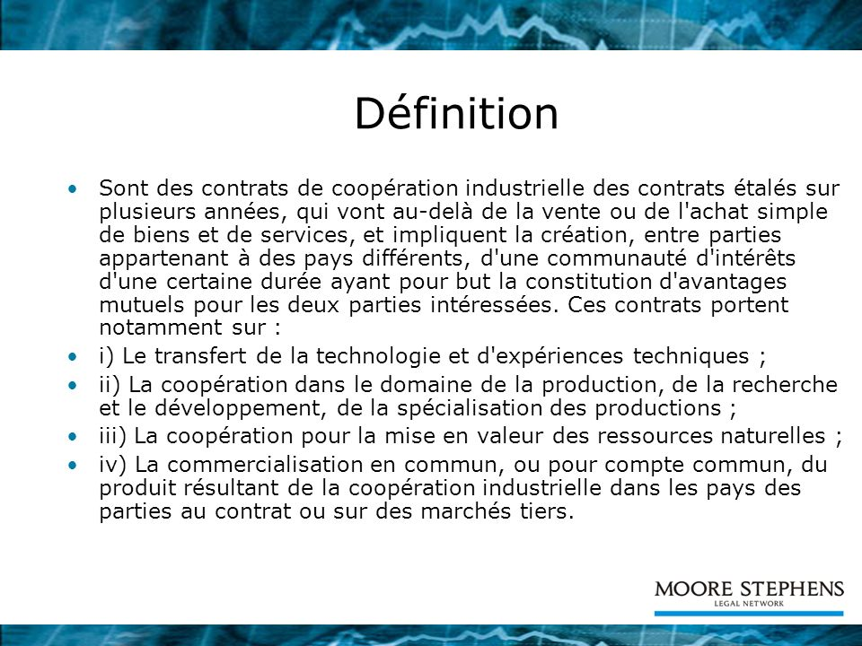 Le contrat de coop ration industrielle ppt t l charger for Portent definition