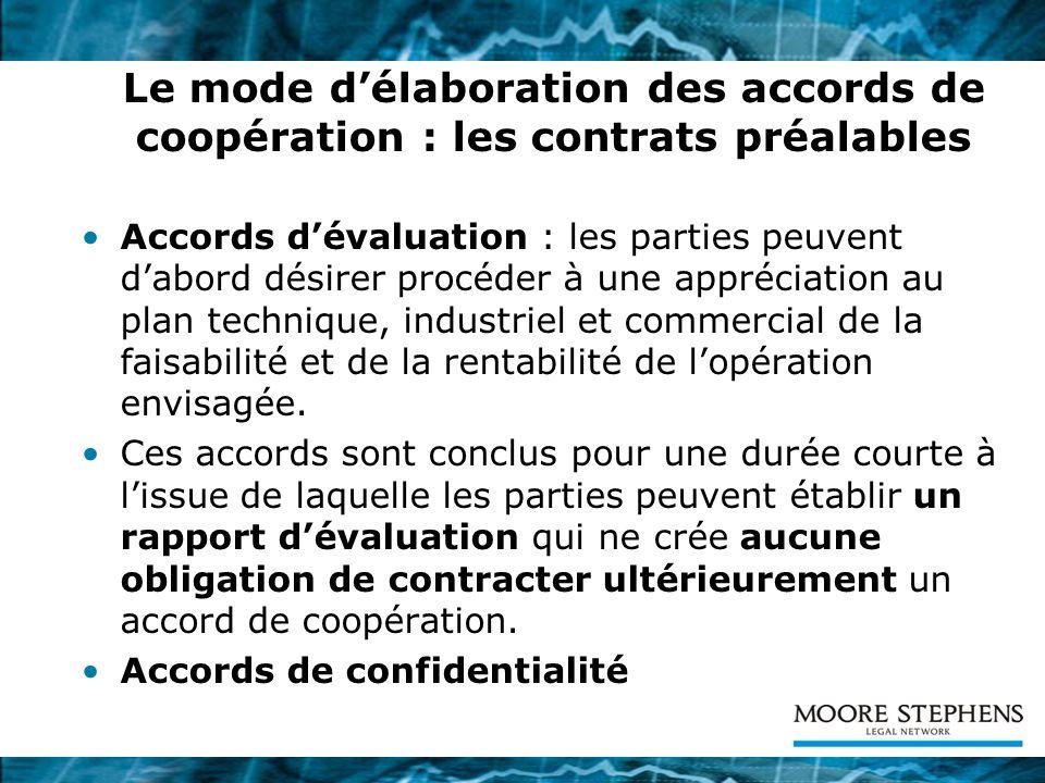 Le mode d'élaboration des accords de coopération : les contrats préalables