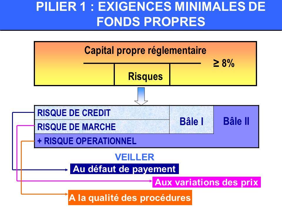 PILIER 1 : EXIGENCES MINIMALES DE FONDS PROPRES