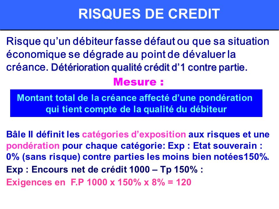 RISQUES DE CREDIT