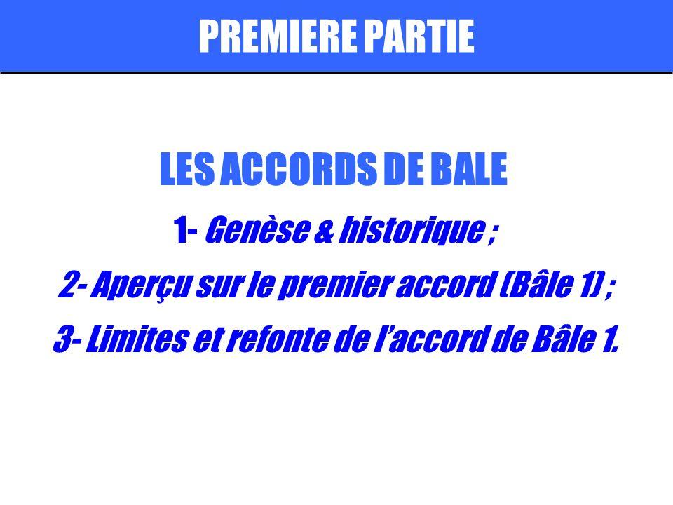 PREMIERE PARTIE LES ACCORDS DE BALE 1- Genèse & historique ;