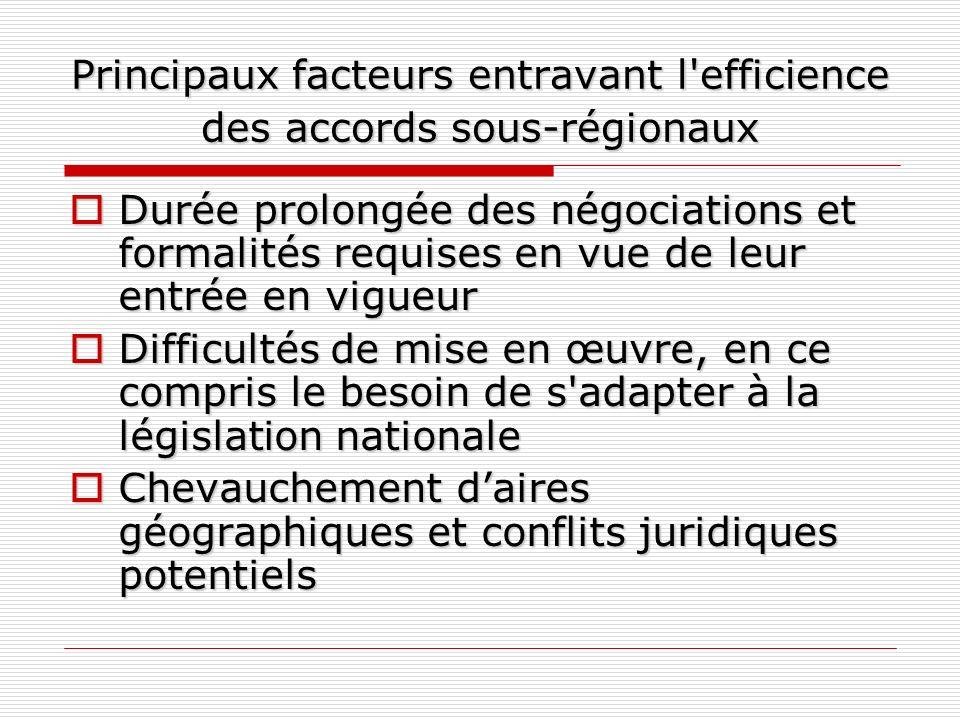 Principaux facteurs entravant l efficience des accords sous-régionaux