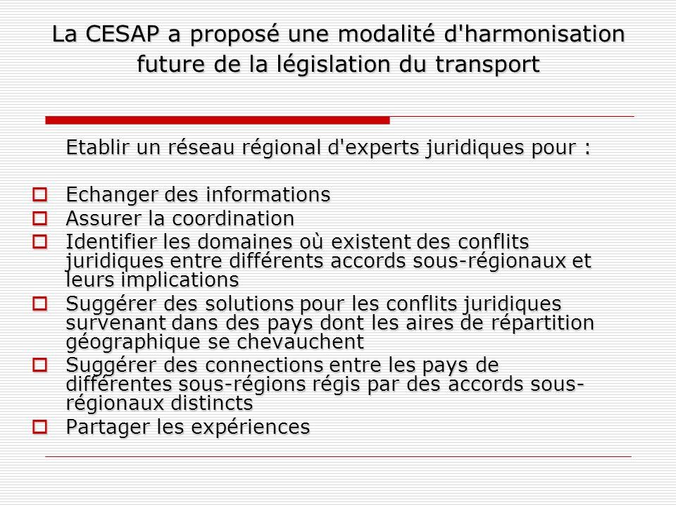 La CESAP a proposé une modalité d harmonisation future de la législation du transport