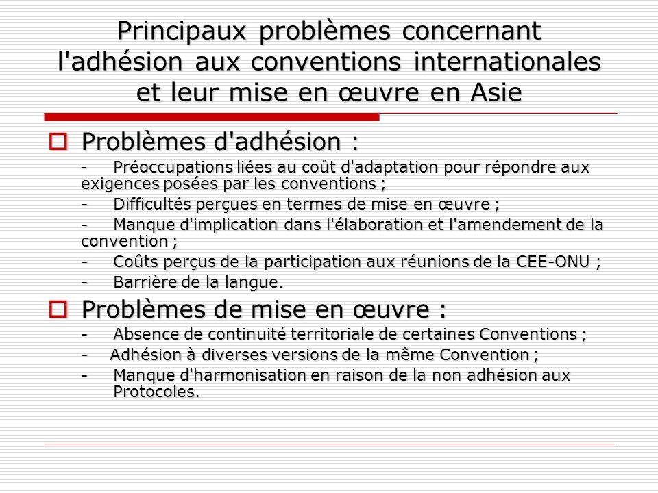 Principaux problèmes concernant l adhésion aux conventions internationales et leur mise en œuvre en Asie