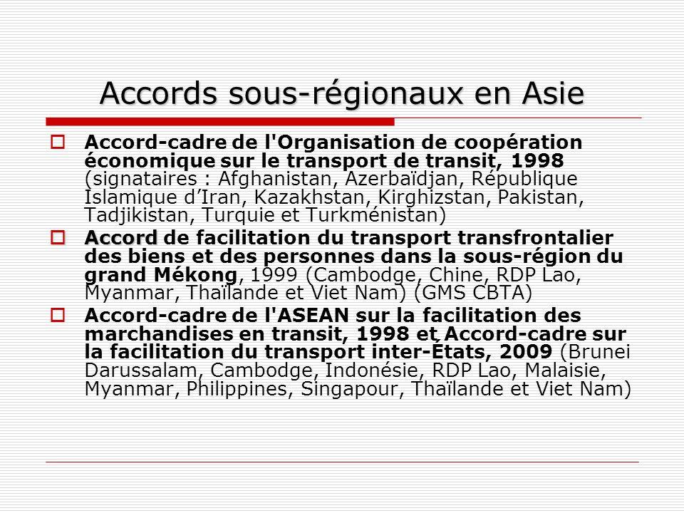 Accords sous-régionaux en Asie