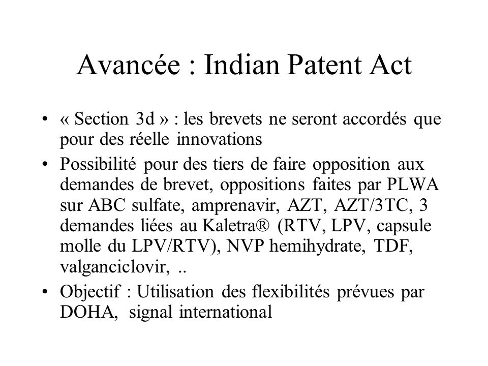 Avancée : Indian Patent Act