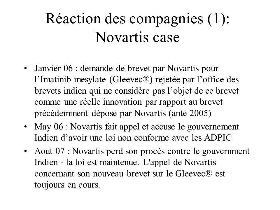 Réaction des compagnies (1): Novartis case