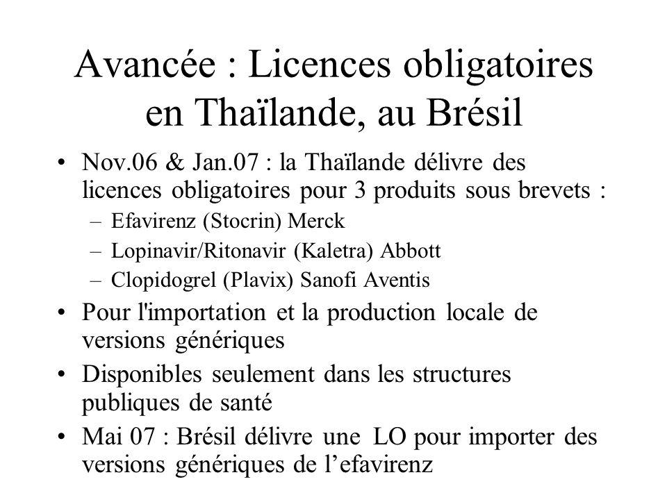 Avancée : Licences obligatoires en Thaïlande, au Brésil