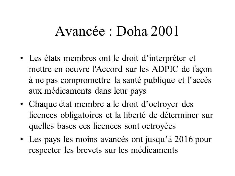 Avancée : Doha 2001