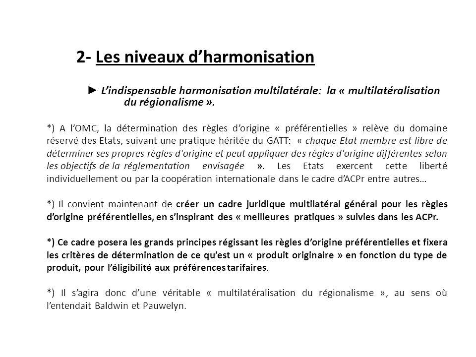 2- Les niveaux d'harmonisation