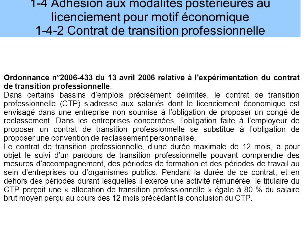 1-4 Adhésion aux modalités postérieures au licenciement pour motif économique 1-4-2 Contrat de transition professionnelle