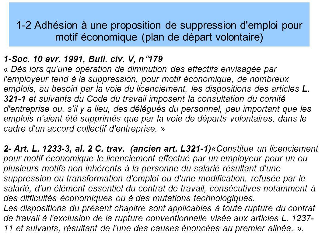 1-2 Adhésion à une proposition de suppression d emploi pour motif économique (plan de départ volontaire)