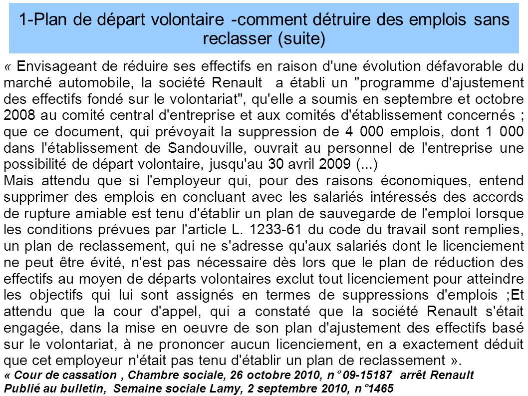 1-Plan de départ volontaire -comment détruire des emplois sans reclasser (suite)