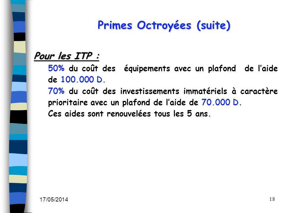 Primes Octroyées (suite)
