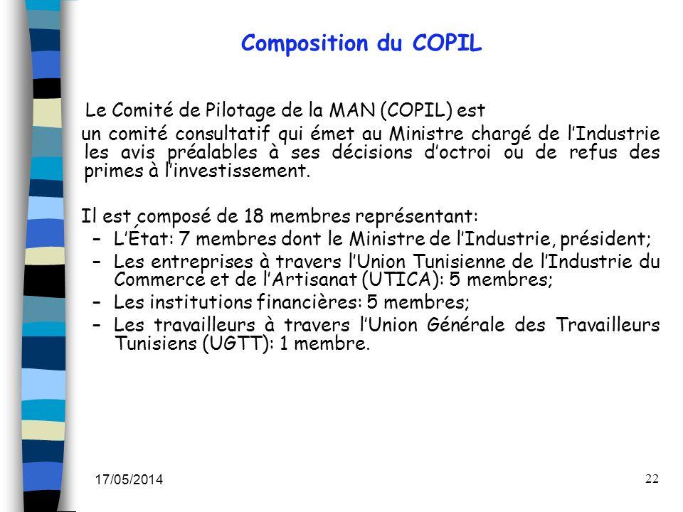 Le Comité de Pilotage de la MAN (COPIL) est
