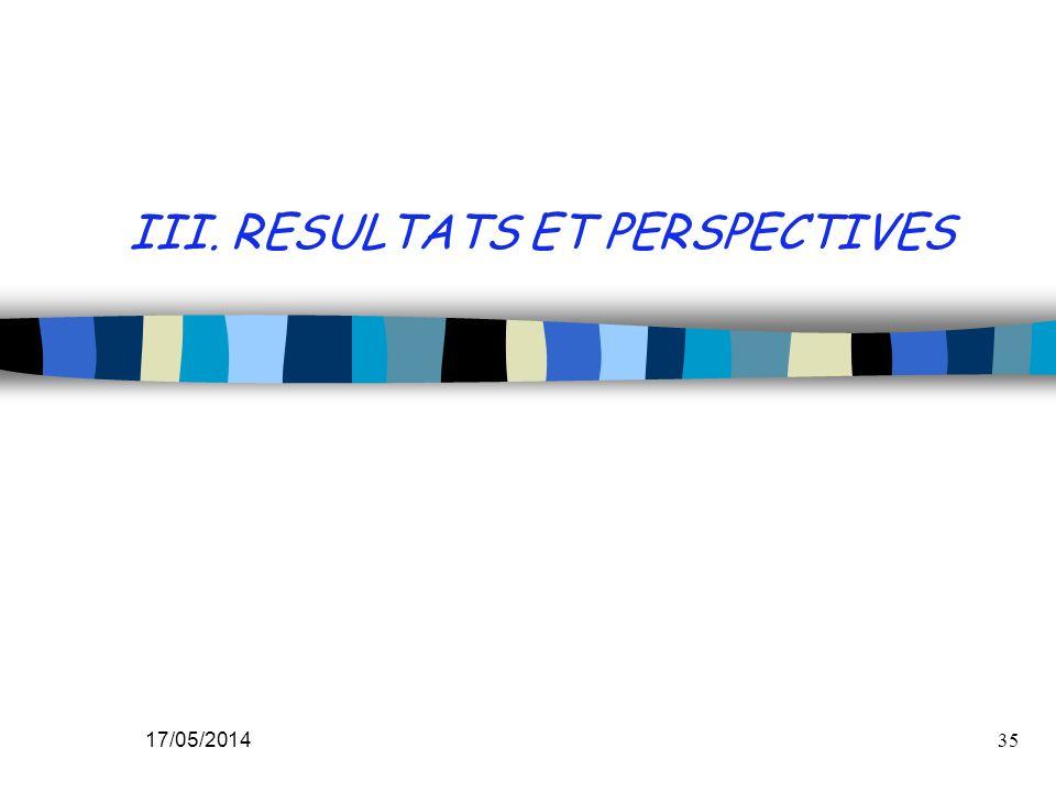 III. RESULTATS ET PERSPECTIVES