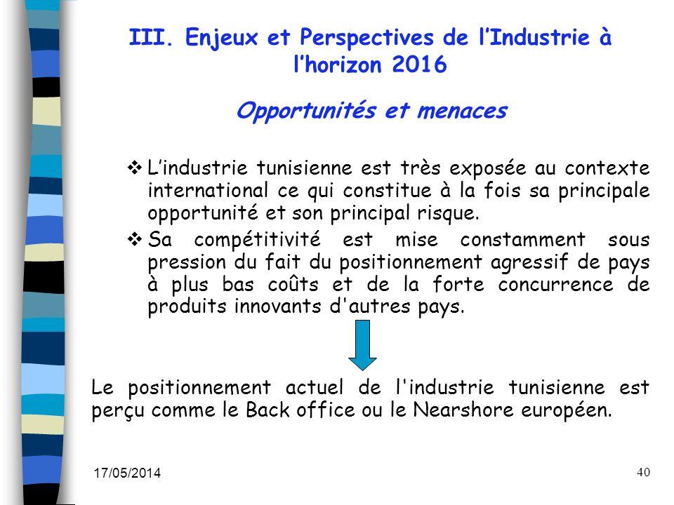 III. Enjeux et Perspectives de l'Industrie à l'horizon 2016