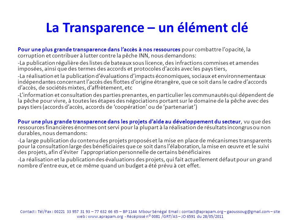 La Transparence – un élément clé