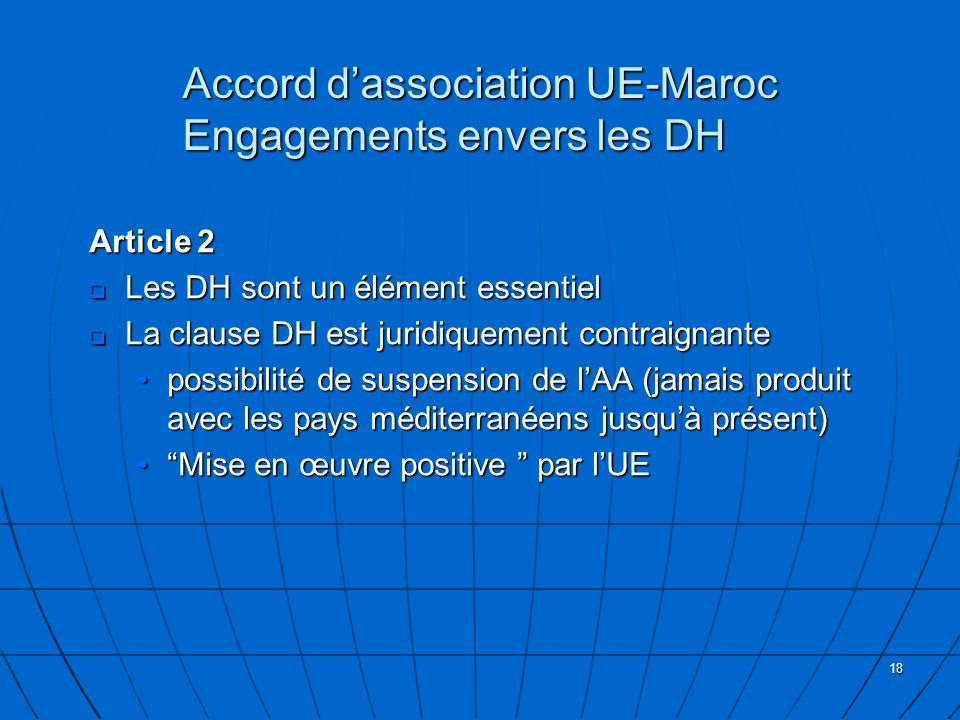 Accord d'association UE-Maroc Engagements envers les DH