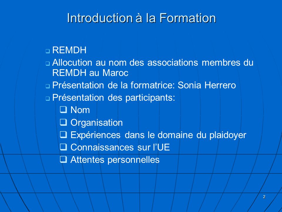 Introduction à la Formation
