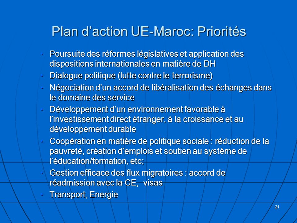 Plan d'action UE-Maroc: Priorités