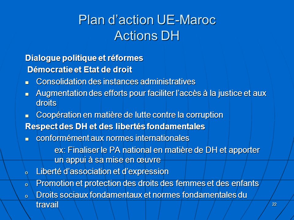 Plan d'action UE-Maroc Actions DH