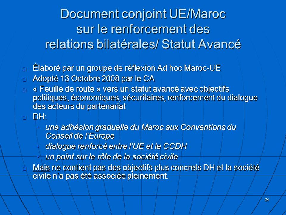 Document conjoint UE/Maroc sur le renforcement des relations bilatérales/ Statut Avancé