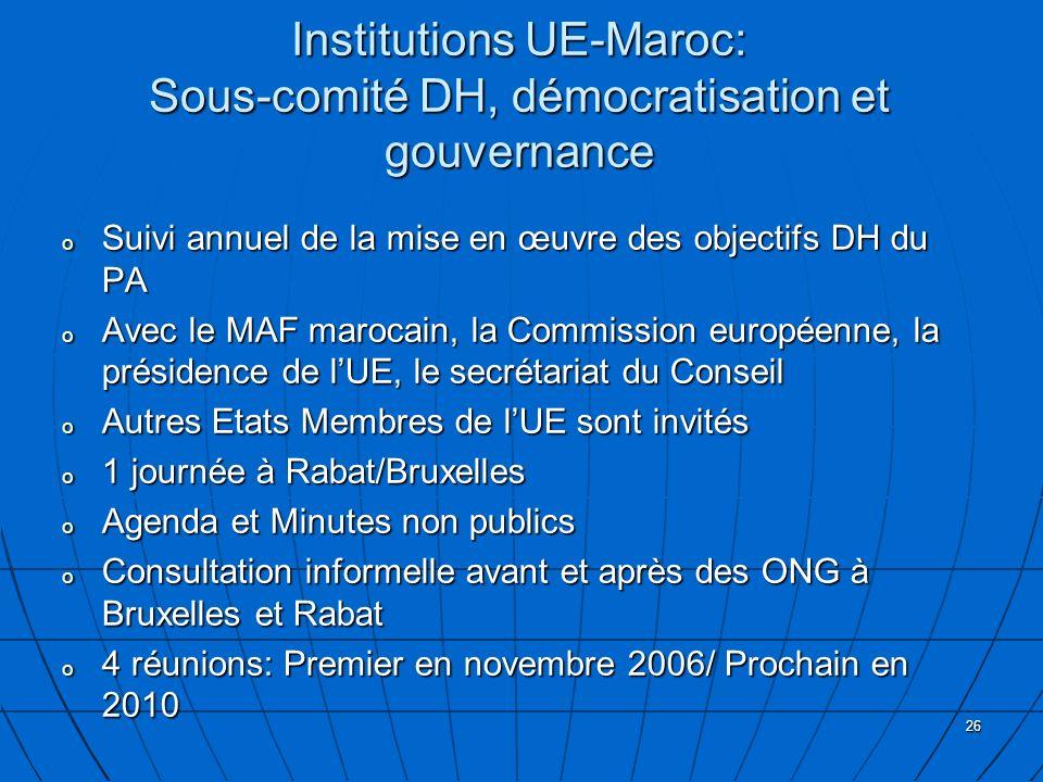 Institutions UE-Maroc: Sous-comité DH, démocratisation et gouvernance