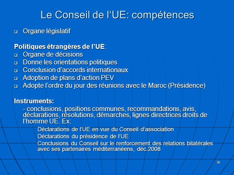 Le Conseil de l'UE: compétences