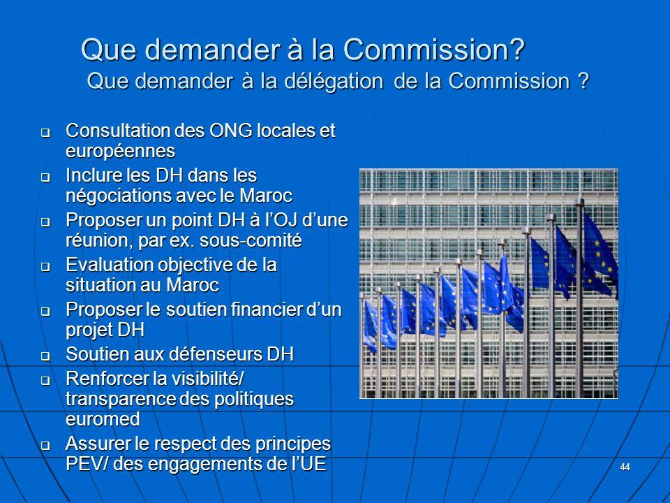 Que demander à la Commission