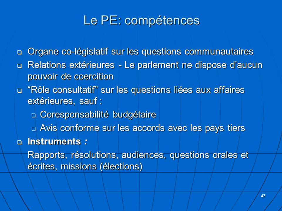 Le PE: compétences Organe co-législatif sur les questions communautaires.