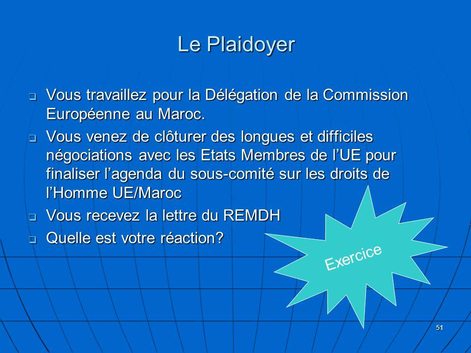 Le Plaidoyer Vous travaillez pour la Délégation de la Commission Européenne au Maroc.