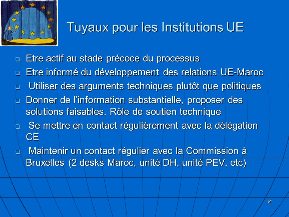 Tuyaux pour les Institutions UE