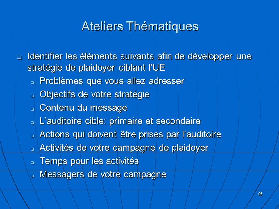 Ateliers Thématiques Identifier les éléments suivants afin de développer une stratégie de plaidoyer ciblant l'UE.