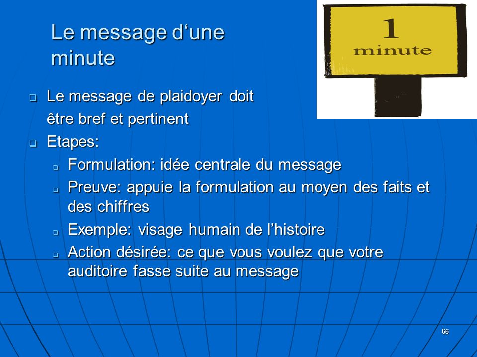 Le message d'une minute