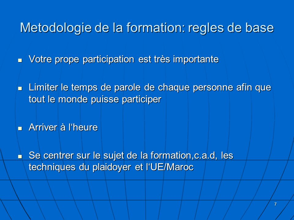 Metodologie de la formation: regles de base