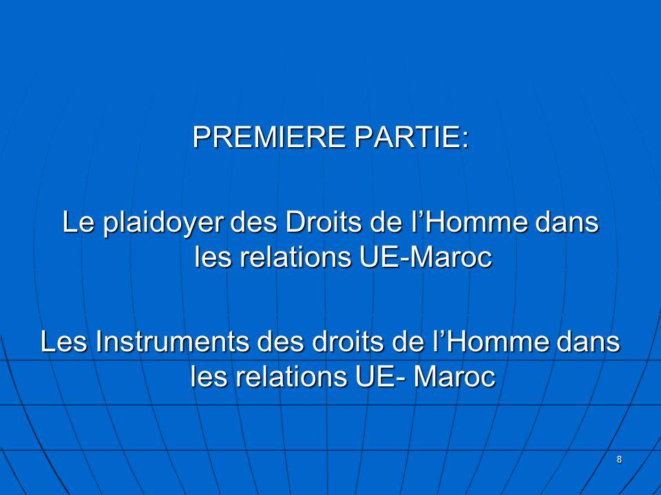Le plaidoyer des Droits de l'Homme dans les relations UE-Maroc