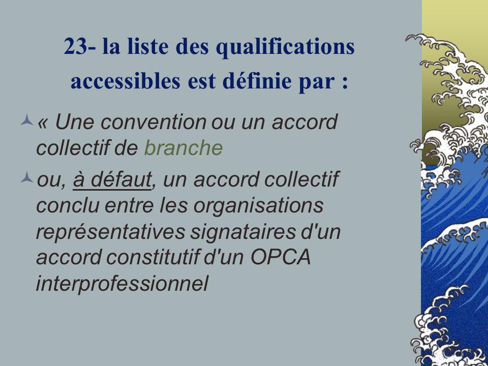 23- la liste des qualifications accessibles est définie par :