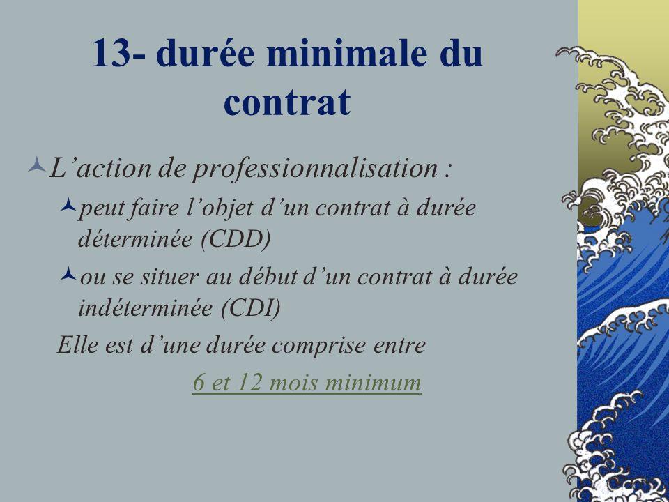 13- durée minimale du contrat