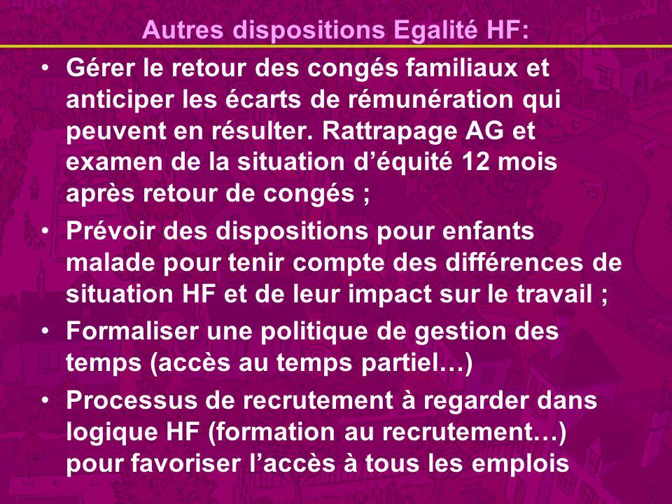 Autres dispositions Egalité HF: