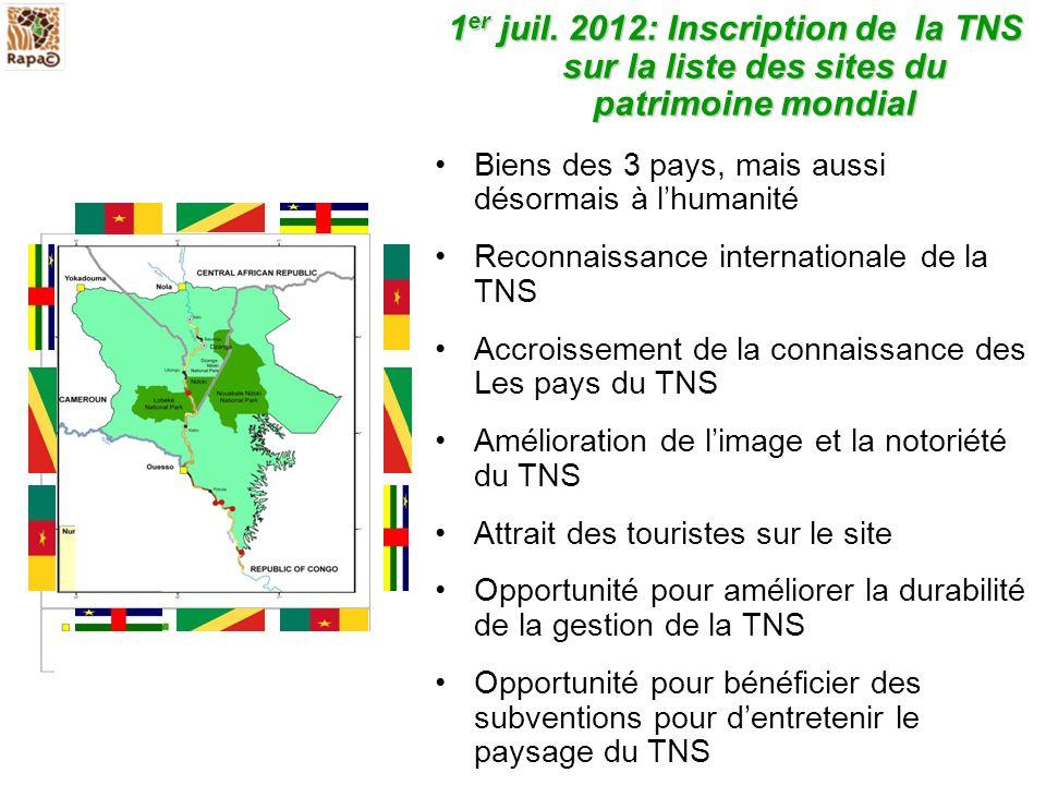 1er juil. 2012: Inscription de la TNS sur la liste des sites du patrimoine mondial