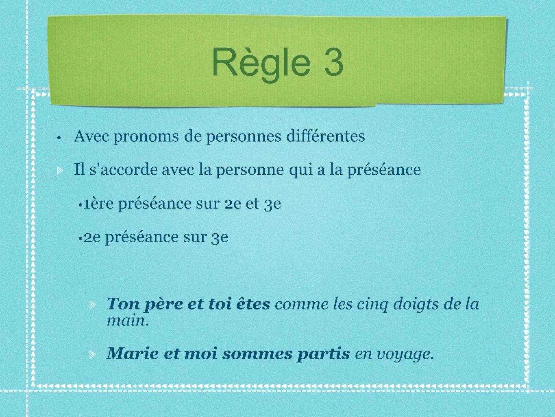 Règle 3 Avec pronoms de personnes différentes