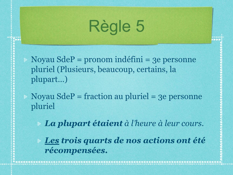 Règle 5 Noyau SdeP = pronom indéfini = 3e personne pluriel (Plusieurs, beaucoup, certains, la plupart…)