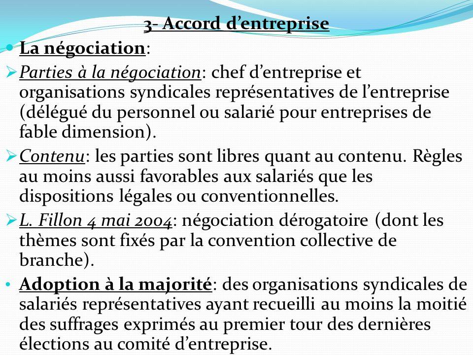 3- Accord d'entreprise La négociation:
