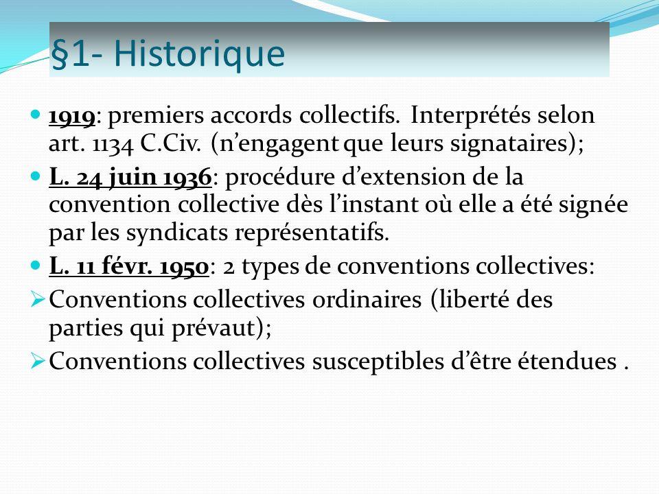 §1- Historique 1919: premiers accords collectifs. Interprétés selon art. 1134 C.Civ. (n'engagent que leurs signataires);
