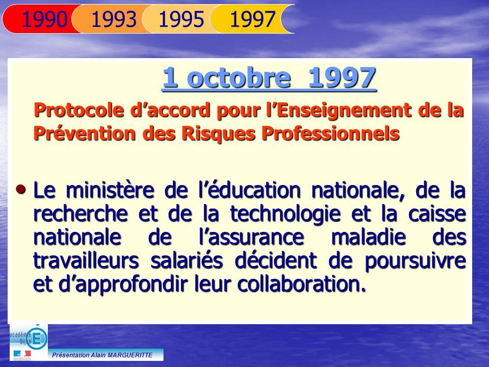1995 1990. 1993. 1997. 1 octobre 1997. Protocole d'accord pour l'Enseignement de la Prévention des Risques Professionnels.