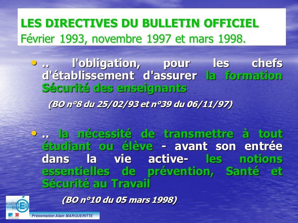 LES DIRECTIVES DU BULLETIN OFFICIEL Février 1993, novembre 1997 et mars 1998.